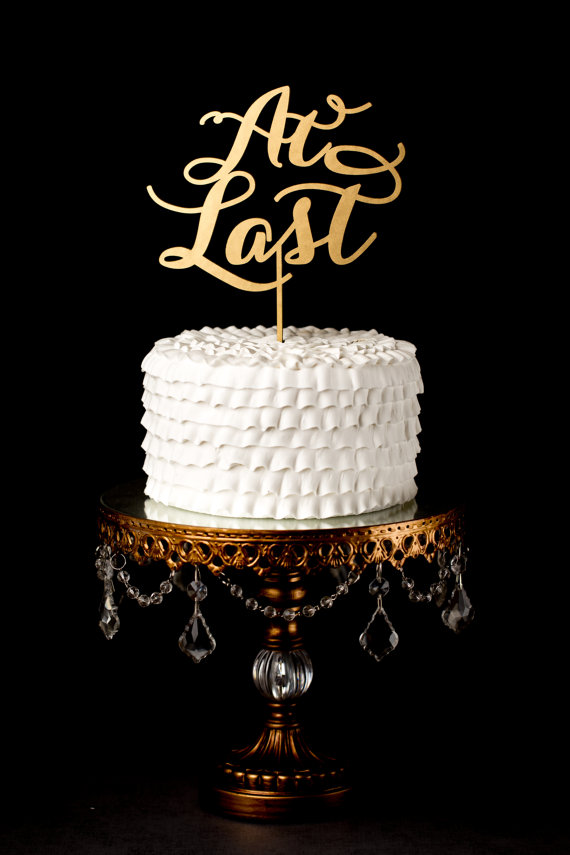 Mariage - At Last Wedding Cake Topper - Gold