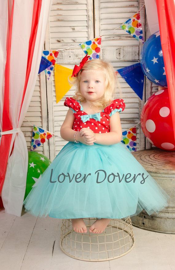 Hochzeit - Flower Girl dress in red and  Tiffany blue Retro Polka Dot  dress tutu dress ROCKABILLY I Love Lucy girls toddler  fifties style dress 50s