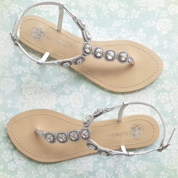 Mariage - Something Blue Sole Wedding Sandals for Beach Destination Wedding with Halo Crystal Strappy Silver Bridal Thong