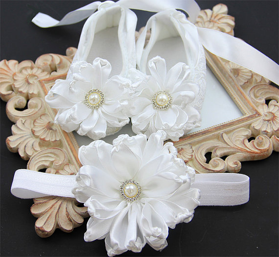34 Colors White baby girl shoes.White baby shoes Baby girl white Shoes  Headband set Christening 9b532ecf141c