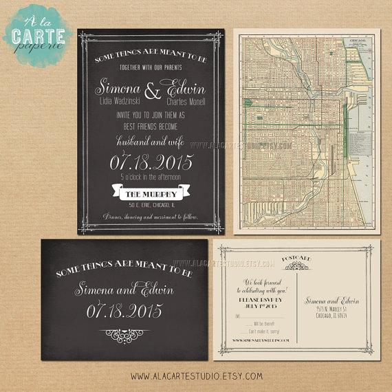 Свадьба - Antique Map Chalkboard Inspired Wedding Invitation and RSVP Card - The Murphy  - Elegant Vintage Wedding Suite
