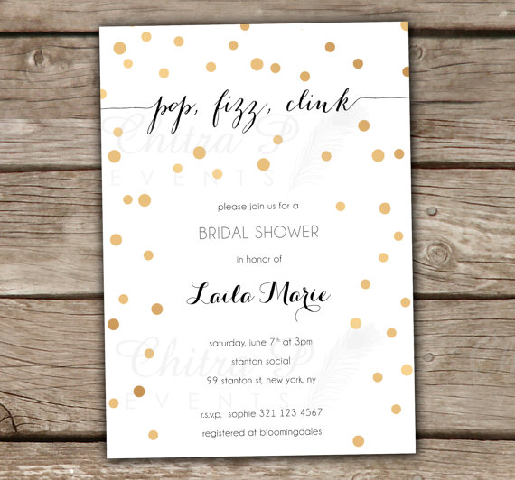 Mariage - Black & Gold Bridal Shower Invitation - Printed or Printable, Couples, Wedding, Confetti, Pop, Fizz, Clink, Baby Brunch Champagne - #013
