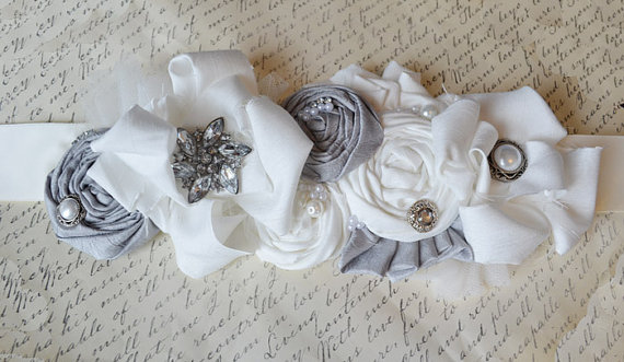 Wedding Dress Sash for Grey