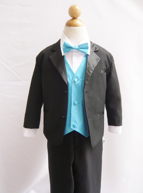 Свадьба - Formal Boy Tuxedo Black with Turquoise Vest for Toddler Baby Ring Bearer Easter Communion Bow Tie Size 10, 12, 14, and More
