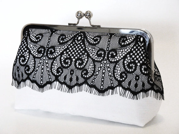 Mariage - Victorian Eyelash Silk And Lace Clutch In Black And White,Bridal Accessories,Wedding Clutch,Bridesmaid Clutch