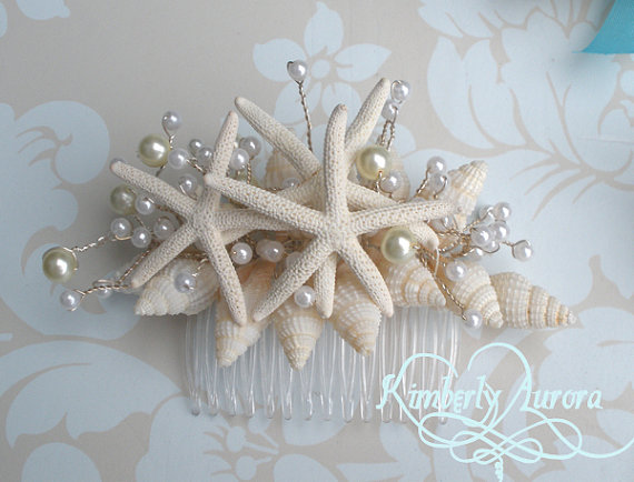 Wedding - Beach Wedding Starfish Hair Accessory Comb (Blue Pencil Starfish Style). Made to Order Custom Details