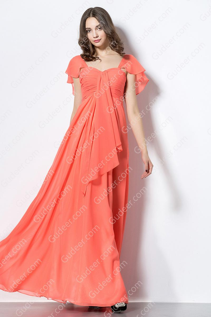 Mariage - Casual Front Cascaded Flutter Cap Sleeve Ruched Empire Waist Long Chiffon Bridesmaid Dress