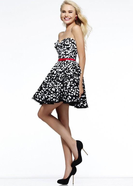 Black White Polka Dot Sequin Strapless Short Prom Dress Sherri Hill