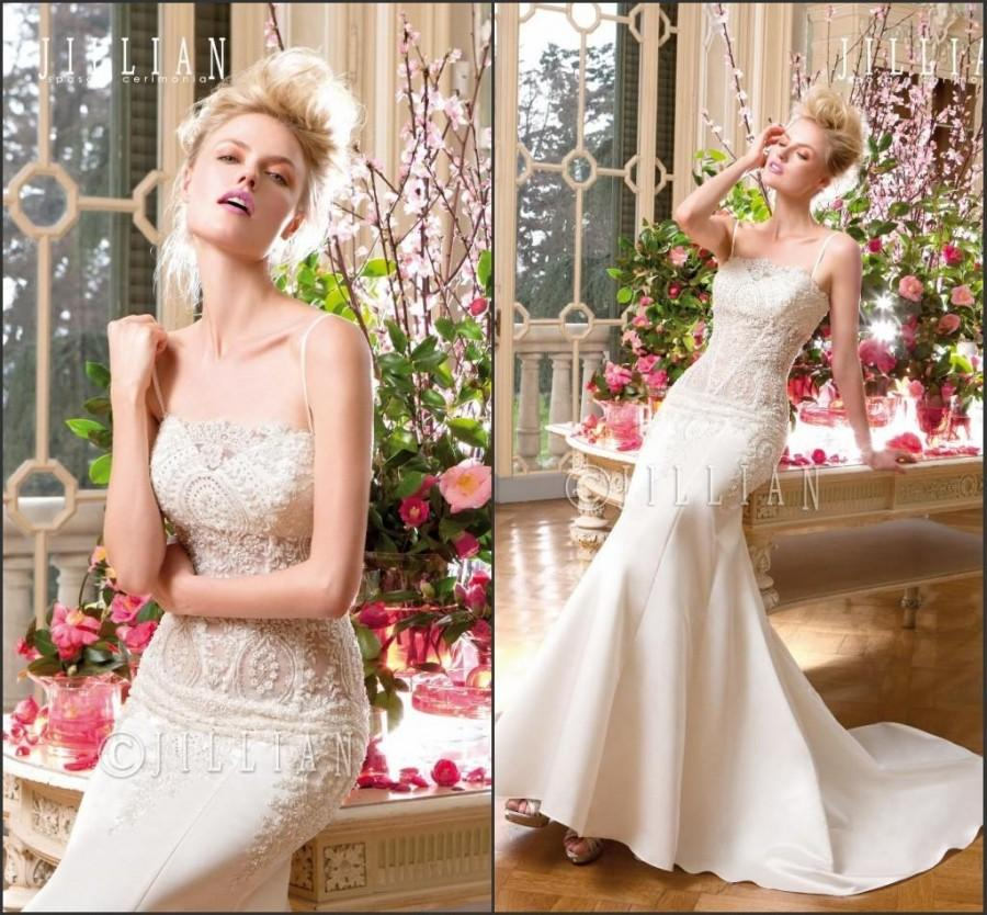 Mariage - 2015 JILLIAN Mermaid Wedding Dresses Lace Applique Beads Spring Sexy Spaghetti Neck Sleeveless Sweep Train Bridal Gowns Vestido De Novia Online with $129.06/Piece on Hjklp88's Store