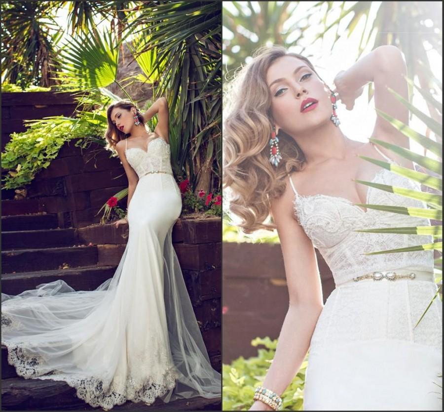 Wedding - Spring Spaghetti Lace Julie Vino 2015 Mermaid Lace Beads Garden Wedding Dresses Bridal Gowns Sweep Wedding Party Dress Vestido De Noiva Online with $129.95/Piece on Hjklp88's Store