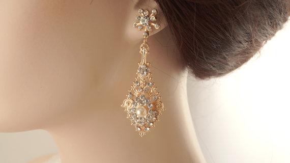 3caf677d6 Rose gold dangle earrings-Rose gold bridal earrings-Rose gold art deco  rhinestone Swaroski crystal earrings - Wedding jewelry