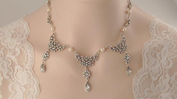 Свадьба - Bridal necklace -Antique silver vintage inspired art deco Swarovski crystal rhinestone bridal necklace -Swarovski crystal and pearl necklace