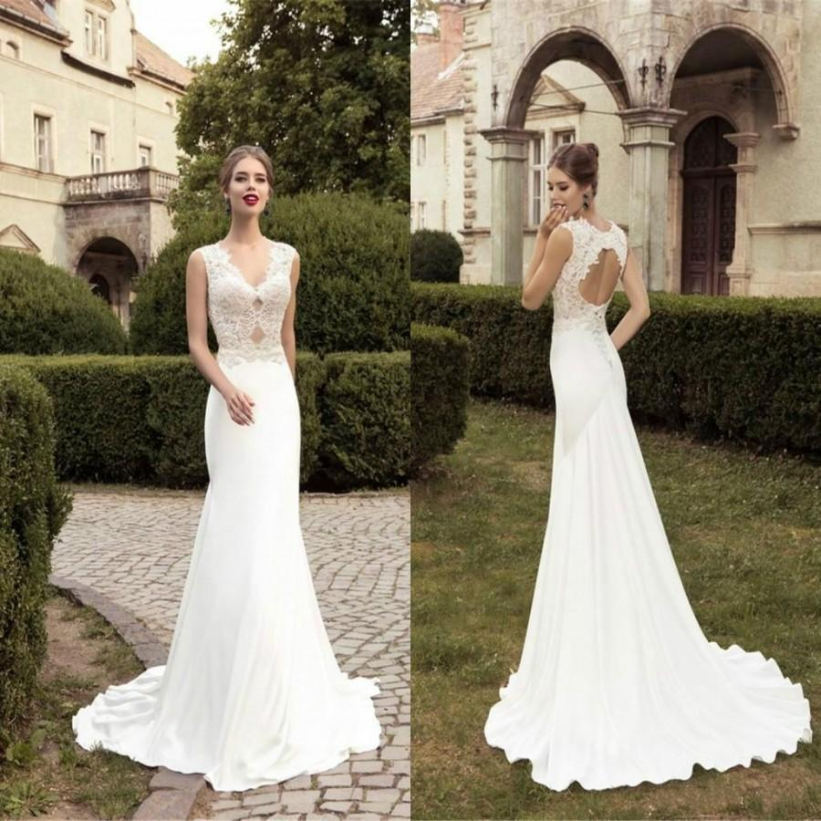 Hochzeit - Charming 2015 Lace Mermaid Wedding Dresses Garden Spring Sexy Sheer V-Neck Hollow And Lace-up Satin Sweep Train Bridal Gowns High Quality Online with $122.83/Piece on Hjklp88's Store
