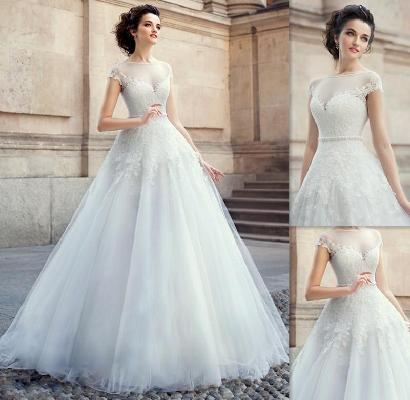 Stunning 2015 Capped Sheer Wedding Dresses White Sash Fall Tulle Appliques Lace A Line Bridal