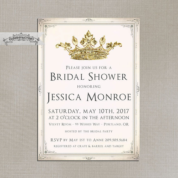 Mariage - Blush Pink and Gold Bridal Shower Invitations Fancy Crown Princess Queen Elegant Vintage Formal Luncheon Brunch High Tea Party No.786