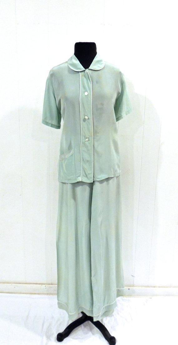 Vintage Silk Pajamas - 1930s Miss Swank Mint Lingerie Pajamas W ...