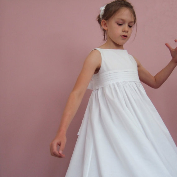 Mariage - first communion gown in cotton flower girl dress bridesmaid ... the RUFFORD ... custom made