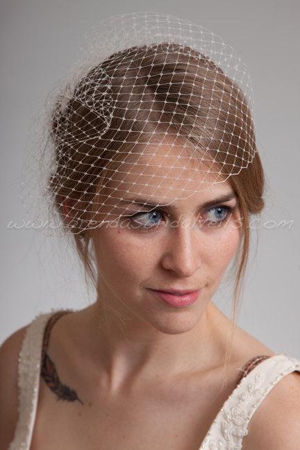 "Mariage - Bridal Birdcage Veil, 9"" Short Blusher Veil, Wedding Veil"