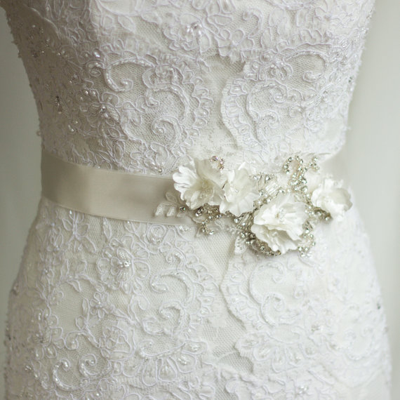 Flower Belts For Wedding Dresses: Bridal Sash, Wedding Dress Belt, Rhinestone Sash, Bridal
