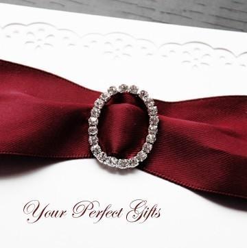 Mariage - 10 Rhinestone Buckle Diamante Cruystal Slider OVAL Wedding Invitation Cake Decoration Bouquet Jewelry BK063