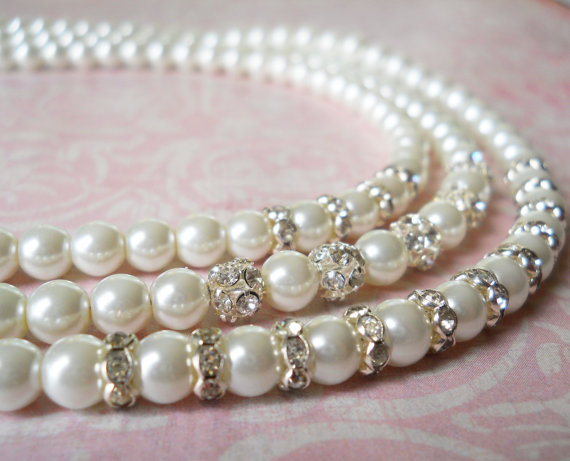 Mariage - Bridal Jewelry Necklace, Multistrand Pearl Necklace, Pearl Rhinestone Necklace, Formal Pearl Necklace, Pearl Wedding Jewelry, Weddings