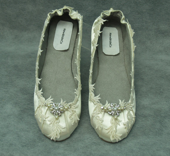 Ivory Wedding Flats - Ivory Or White Fancy Shoes - Flat Fancy Shoes ...