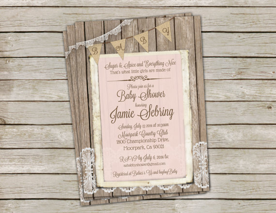 Mariage - Rustic Baby Girl Shower Invitation, Invite, Shabby, Burlap & Lace, Pink, Digital, Printable, Customize, 5x7