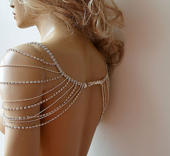 Mariage - Wedding Rhinestone Jewelry, Wedding Dress Shoulder, Wedding Dress Accessory, Bridal Epaulettes, Wedding  Accessory, Bridal Accessory