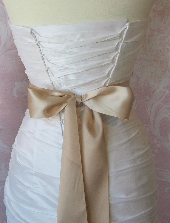 Mariage - Double Face Champagne Satin Ribbon, 2.25 Inch Wde, Mushroom Ribbon Sash, Bridal Sash, Wedding Belt, 4 Yards