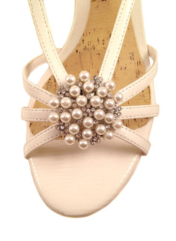 Mariage - Pearls & Rhinestones Shoe Clips - Silver