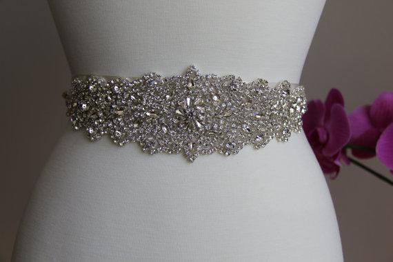 Boda - Elegant and gorgeous rhinestone trim, beaded detailed bridal sash, wedding sash, rhinestone belt, bridal belt, rhinestone applique