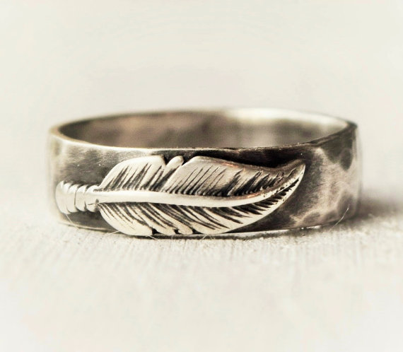 Sterling Silver Feather Ring Hammered Band Hand Forged Jewelry Rustic Wedding Statement