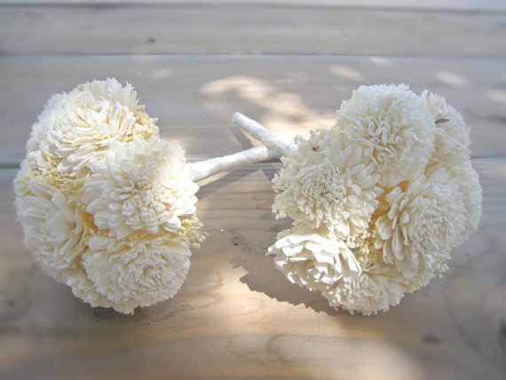Bridesmaid Bouquet Toss Or Flower Girl Custom Made Ivory White Dried