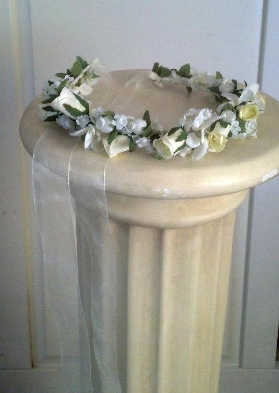 Свадьба - Ivory Bridal Hairpiece Rose Flower Crown Veil Alternative Wedding Day Head Wreath floral circlet hair wreath halo accessory sheer ribbon