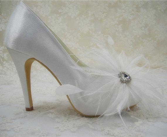 Mariage - Feather Wedding Shoes, Peep toes Wedding Shoes, Rhainestone Bridal Shoes, Crystal Bridal Shoes, Bridesmaids Shoes, High Heel Wedding Shoes