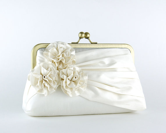 Hochzeit - Bridal clutch, Roses Silk Clutch in Ivory, wedding clutch, wedding bag, Luxury Bridesmaid Gift