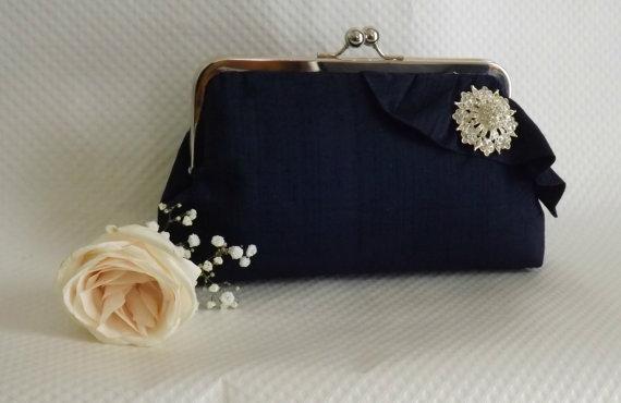 Hochzeit - Navy Bridal Clutch - Navy Wedding Purse -Bridesmaids Clutch - Bridal Clutch with Crystal Brooch - Giselle