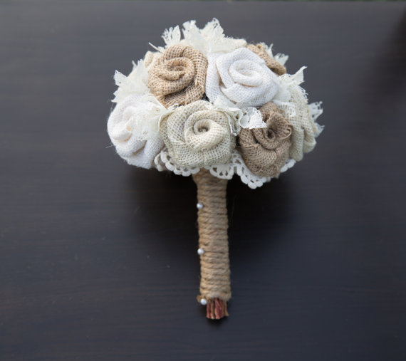 Hochzeit - Burlap Bouquet Bride Wedding Bouquet