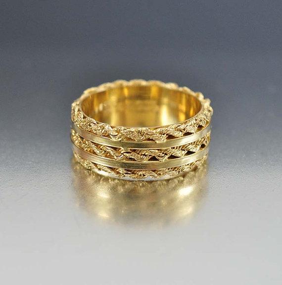 Hochzeit - Art Deco Ring, Vintage Wedding Band Ring, 14K Gold Ring, Sterling Silver Band Ring,  Size 7.5  Vintage Art Deco Jewelry