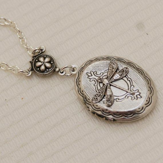 Hochzeit - Silver Locket,Locket,Jewelry Gift,Silver Dragonfly Locket,Silver Chain,Locket Necklace,Wedding Necklace