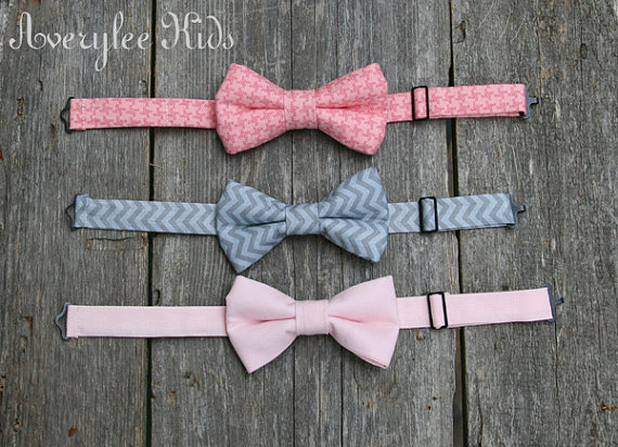 1d8f317d674f Boys Bow Tie, Pink and Gray Bow Ties for Toddlers to Teens, Blush Pink,  Chevron Grey, Pink Houndstooth, Wedding Ring Bearer, Baptism