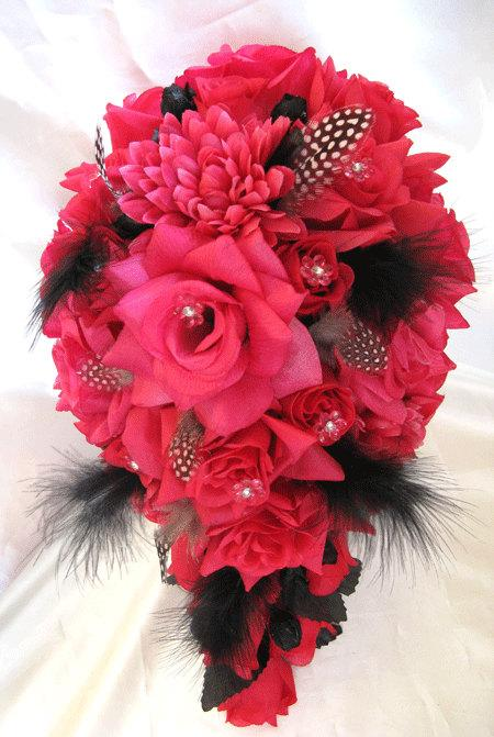 """Свадьба - Free Shipping Wedding Bouquet Bridal Silk flowers Hot PINK FUCHSIA BLACK Feathers 17pc Cascade bouquets centerpieces """"Roses and Dreams"""""""
