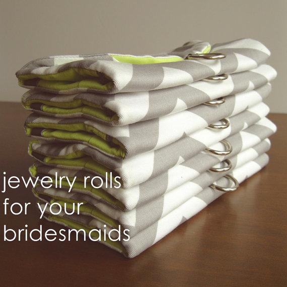 Hochzeit - Bridesmaids Gifts Set of 7 - Jewelry Roll Travel Organizers - Custom fabric/colours - Destination Wedding Idea