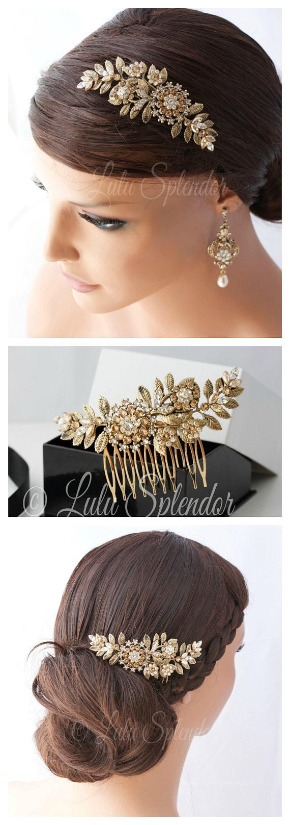Hochzeit - Bridal Hair Comb Vintage Leaf Leaves Wedding Comb Antique Gold  Golden Shadow Crystal Pearl Side Comb Hair Accessories  IVY