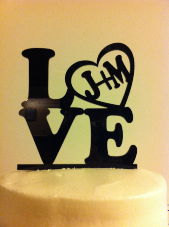 Love, Heart, Initials Acrylic Wedding Cake Topper #2246295 - Weddbook