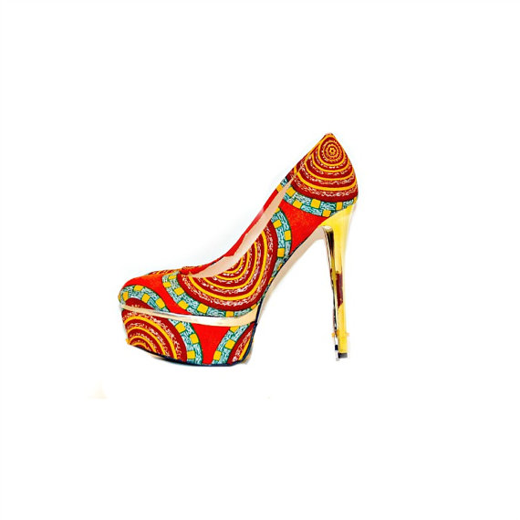 Hochzeit - Orange African Print Closed Toe Luxury Heels, African Ankara Fabric Platform Shoes -Platform Wedding Shoes -High Heels - Platforms