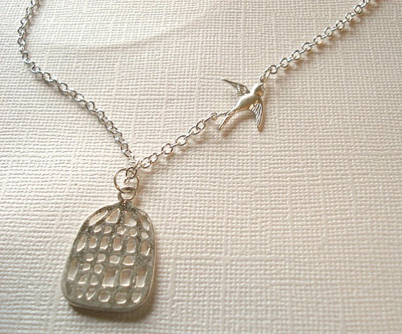 Wedding - Fly Away to Freedom Birdcage Necklace Bird Necklace Jewelry Flying Away Silver Bird Cage Necklace Wedding Bird Jewelry Retirement Necklace