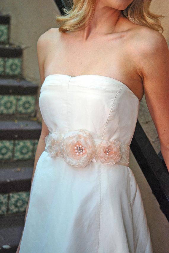 Hochzeit - Ivory and Blush Pink One of a Kind Wedding Sash