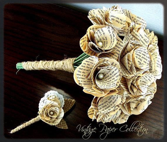 Hochzeit - Book Page Bouquet - Book Page Boutonniere -Book Bouquet -Book Flowers -Paper Roses -18 Paper Roses -Storybook Wedding