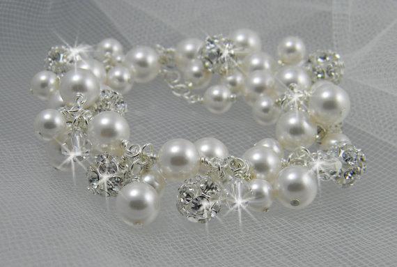 Wedding - Wedding Bracelet, Crystal Pearl Cluster wedding jewelry Pearl Bridal jewelry Dangle Charm bracelet, bridal bracelet, Lillian Bracelet